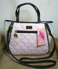 Betsey Johnson #lbeve Satchel Shoulder Bag Pink Hearts Quilted Pastel Dots BLK