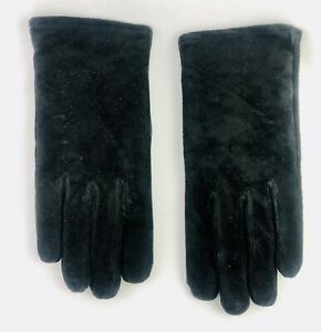 Womens Black Suede Gloves Sensations Isotoner Large