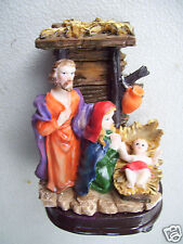 """Nativity Stable Mary Joseph Baby Jesus & Jug In A Manger 3.5"""" Tall Figurine"""