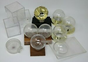 Lot of 11 EMPTY Baseball Cube Round Ball Holders USED Plastic Display Cases