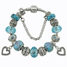 Antique Silver Plated Blue Crystal Beads Bracelet W/Heart Charm-17 cm