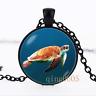 Turtle Sea turtle Tortoise Glass Dome black Chain Pendant Necklace wholesale
