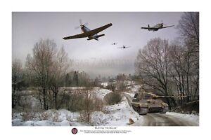 "WWII WW2 USAAF USAF P-51 Mustang Tiger Tank Aviation Art Photo Print - 12"" X 18"""