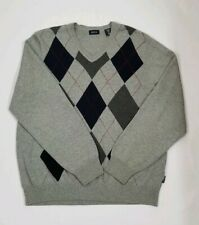 Izod Men's Golf Classic Sweater Size M Light Grey Diamond Print V Neck