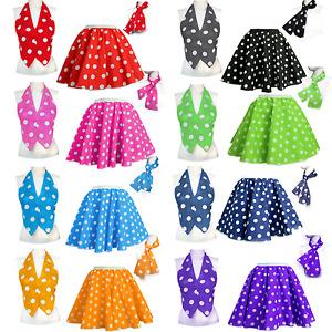Girls Duet Skirt Or Waistcoat POLKA DOT ROCK n ROLL 50s COSTUME UK