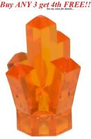 ☀️NEW LEGO TRANS ORANGE 5 Point pt Crystal Cave translucent Rock Gem Jewel