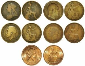 PENNY COIN PORTRAITS  FROM VICTORIA TO ELIZABETH II one for each Monarch 5 Coins