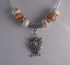 "Murano Glass Bead 18"" NECKLACE Handmade Lampwork  Orange/White  Made in USA"