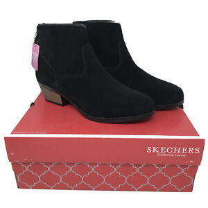 Skechers Women's Lasso-Caravel 9US Short Zip Up Ankle Boot Black Suede NEW W/Box