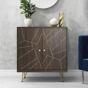 Sideboard in Dark Wood with Brass Inlay - Tahlia