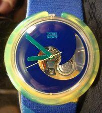 POP SWATCH AQUA CLUB Blue Beach Ocean Wave Green Working Watch 1990 PWK138 Retro