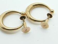 Pair of Antique Victorian/Edwardian 9ct Gold Creole Hoop Screw Back Earrings