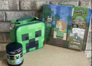MINECRAFT Cube Insulated Lunch Box➕Funtainer Food Jar Deluxe ➕Activity Set