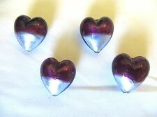 Puffed Heart Murano Lamp work Glass Beads Plum and Silver Quantity 4