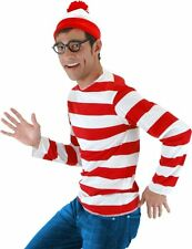 WHERE'S WALDO COSTUME Adult S M Small Medium Hat Striped Shirt Red NO GLASSES