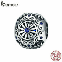 BAMOER Retro S925 Sterling silver Charm Daisy Bead & Blue CZ For Women Jewelry