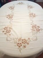 """Vintage Ivory Floral Embroidered Tablecloth  Scalloped Edges 58"""" X 100"""""""