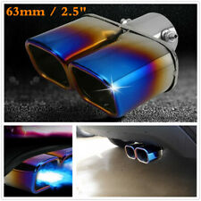 63mm Roasted Blue Car Stainless Steel Square Dual Exhaust Tail Pipe Muffler Tips