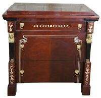 French Empire Style Egyptian Revival 3 Drawer Chest Side Table Nighstand Deco