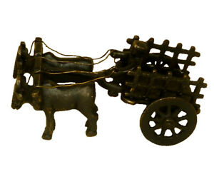 Bullock Cart With Rolling Wheels Antique Style Brass Handmade Kids Toy Figurine