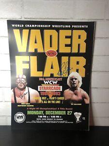 Ric Flair vs Vader Autograph WCW Starrcade 1993 Poster 17.5 X 13
