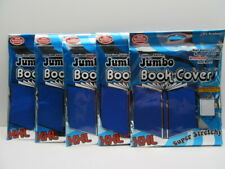 Lot of 5 Jumbo XXL Academic Stretchable Fabric School Book Cover - Blue