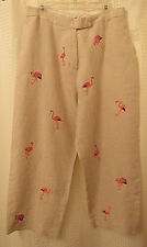 Linen Crop Pants Sz 16 Cream Linen Embroidered Pink Flamingoes