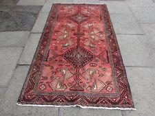 Vintage Hand Made Traditional Rug Oriental Wool Red Pink Rug 209x113cm