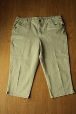 Womens Living Planet Stretch Beige Flap Pocket Capri Casual Chino Pants Size 18