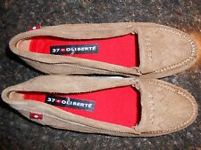 Oliberte brown suede Ralini flats moccasin shoes display 7M New no box save!