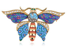 Colorful Fimo Paint Crystal Rhinestone Butterfly Pattern Fashion Pin Brooch New