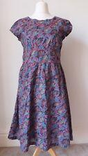 Floral Dress Size 14 SEASALT Lined Short Sleeve Cotton Summer Garden Party B33