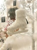 4 White Lace Vintage Ice Skate Boot Hanging Christmas Tree Decoration Ornaments