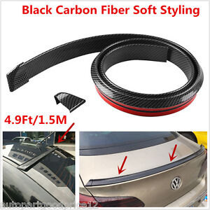 4.9ft/1.5M Universal Carbon Fiber Car Rear Roof Trunk Spoiler Wing Lip Sticker