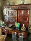 Antique French Country Bench and Cupboard Entry Hall Foyer Unique Carving