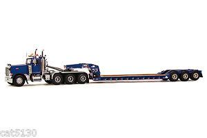 "Peterbilt 379 Truck w/ 3 Axle Rogers Lowboy Trailer ""BLUE"" - 1/50 - WSI #34-1003"
