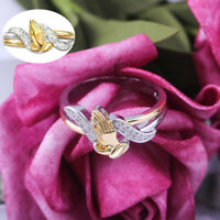 Praying Plated Rings for Ring Women Hand Two Gold Size 6-10 Tone White Sapphire