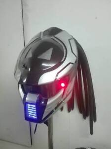 New Predator AV LED Light Motorcycle Helmet Alien Custom Party Mask Gray Color