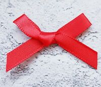 Red Small Mini Satin Bows Ready Made Ribbon Arts & Craft Cards Sewing