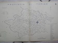 Vecchia stampa della provincia di TORINO del d Epoca fascista Regno Italia mappa