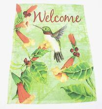 """Hummingbird Welcome Garden Flag 18x12.5"""" Spring Floral Green"""