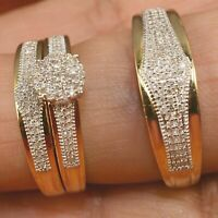 14K Yellow Gold FN Diamond Bridal Engagement Ring His/Hers Trio Wedding Band Set