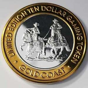 2000 S Gold Coast Casino .999 Silver Strike $10 Team Roping Gaming Token ¬GC0023