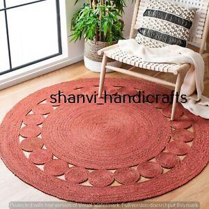 Bohemian Rag Round Rug Handmade Jute Rug Braided Hand Woven Indoor Floor Carpet