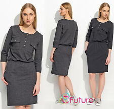 Ladies Casual Work Office 3/4 Sleeve Crew Neck Buttoned Knee Length Dress FA510