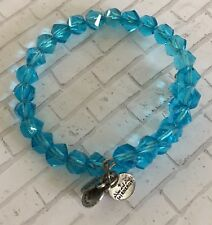 Vintage 66 Alex And Ani Energy Blue Coiled Beaded Wrap Bracelet Charms
