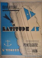 "French St. Tropez Travel Poster ""Latitude 23"" on Linen"