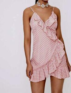 PRETTY LITTLE THING Dorothea Pink Polka Dot Dress Size 8 BNWT
