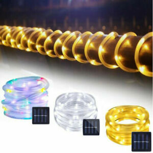 12M 100 LED Solar Rope Tube String Fairy Lights Strip Waterproof Outdoor Garden