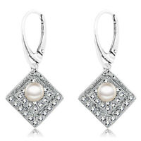 925 Sterling Silver Kite White Pearl Cubic Zirconia Leverback Earring & Set